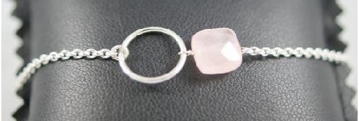 bracelet quartz rose et argent, Alittlemarket.com