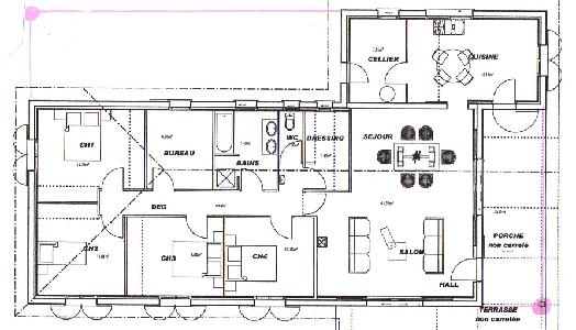 plan maison en forme de L l